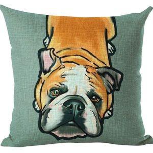 """English Bulldog Throw Pillow Case 18"""" x 18"""" NWT"""